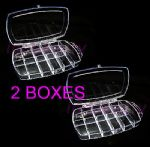 2 x Empty Nail Tip Display Storage Box For Tips Art 11 Compartments 30063C